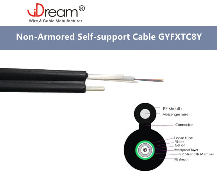 Non-armored self support fiber optic Cable GYFXTC8Y